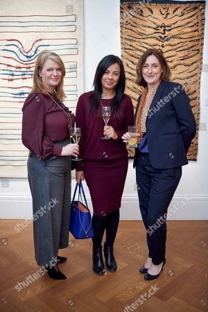 Susan Linstead, Liz Bonnin and Tanya Steele attend a preview for WWF's Tomorrow's Tigers fundraising project at Sotheby's, which is designed to raise awareness and funds in support of the TX2 goal, a global commitment to double tiger numbers in the wild by 2022.