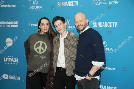 """Julia Murney, Griffin Gluck, Jon Cryer. Actress Julia Murney, left, actor Griffin Gluck, center, and actor Jon Cryer, right, pose at the premiere of the film """"Big Time Adolescence"""" during the 2019 Sundance Film Festival, in Park City, Utah"""