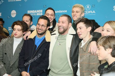 """Thomas Barbusca, Jason Orley, Pete Davidson, Joseph Vincent Gay, Colson Baker, Machine Gun Kelly, Griffin Gluck, Sydney Sweeney, Aiden Arthur. From left to right, Thomas Barbusca, Jason Orley, Pete Davidson, Joseph Vincent Gay, Colson Baker, aka """"Machine Gun Kelly"""", Griffin Gluck, Sydney Sweeney and Aiden Arthur pose at the premiere of the film """"Big Time Adolescence"""" during the 2019 Sundance Film Festival, in Park City, Utah"""