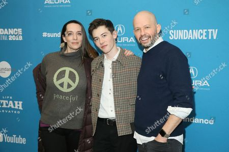 """Julia Murney, Griffin Gluck, Jon Cryer. Actress Julia Murney, left, actor Griffin Gluck, center, and actor Jon Cryer pose at the premiere of the film """"Big Time Adolescence"""" during the 2019 Sundance Film Festival, in Park City, Utah"""