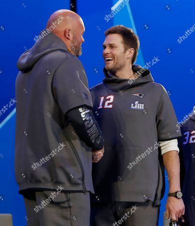 New England Patriots quarterback Tom Brady (R) and Los Angeles Rams Andrew Whitworth (L) talk between the two sessions of the National Football League's Super Bowl LIII Opening Night event at State Farm Arena in Atlanta, Georgia, USA, 28 January 2019. The AFC Champion New England Patriots and the NFC Champion Los Angeles Rams will face off in Super Bowl LIII at Mercedes-Benz Stadium on 03 February 2019.