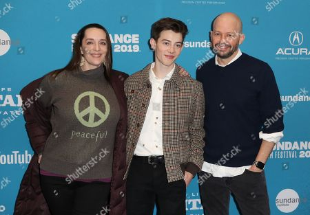 Julia Murney (L), US actor Griffin Gluck (C) and US actor Jon Cryer (R) arrive for the premiere of 'Big Time Adolescence' at the 2019 Sundance Film Festival in Park City, Utah, USA, 28 January 2019. The festival runs from the 24 January to 2 February 2019.