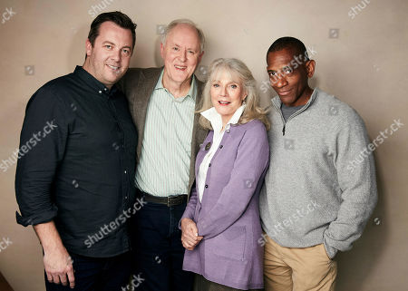 """Luke Rivett, John Lithgow, Blythe Danner, Noble Jones. Producer Luke Rivett, from left, John Lithgow, Blythe Danner and writer/director Noble Jones pose for a portrait to promote the film """"The Tomorrow Man"""" at the Salesforce Music Lodge during the Sundance Film Festival, in Park City, Utah"""