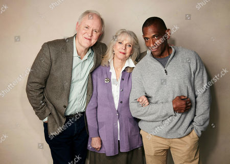 """John Lithgow, Blythe Danner, Noble Jones. John Lithgow, from left, Blythe Danner and writer/director Noble Jones pose for a portrait to promote the film """"The Tomorrow Man"""" at the Salesforce Music Lodge during the Sundance Film Festival, in Park City, Utah"""