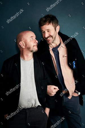 """Nick Hornby, Chris O'Dowd. Writer Nick Hornby, left, and Chris O'Dowd pose for a portrait to promote the film """"State of the Union"""" at the Salesforce Music Lodge during the Sundance Film Festival, in Park City, Utah"""