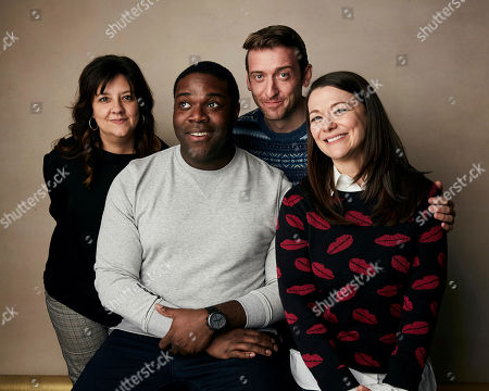 "Stephanie Laing, Sam Richardson, Dave Hill, Maribeth Monroe. Director Stephanie Laing, from left, Sam Richardson, Dave Hill, and Maribeth Monroe pose for a portrait to promote the film ""Bootstrapped"" at the Salesforce Music Lodge during the Sundance Film Festival, in Park City, Utah"