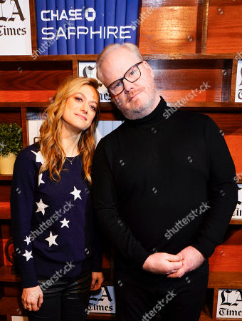 Marin Ireland and Jim Gaffigan goof around at the LA Times Studio at Sundance Film Festival presented by Chase Sapphire, in Park City, Utah