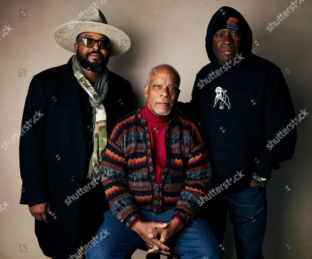 "Erin Davis, Stanley Nelson, Vince Wilburn Jr. Erin Davis, from left, directors Stanley Nelson, and Vince Wilburn Jr. pose for a portrait to promote the film ""Miles Davis: Birth of the Cool"" at the Salesforce Music Lodge during the Sundance Film Festival, in Park City, Utah"