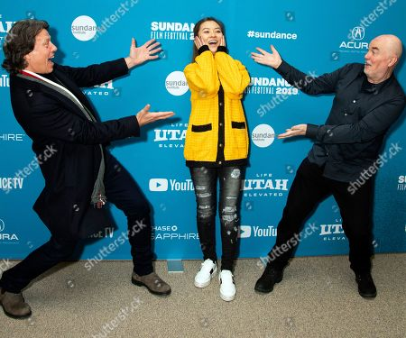 """Gavin Hood, Melissa Zuo, Ged Doherty. From left, director Gavin Hood, Melissa Zuo and Ged Doherty pose at the premiere of """"Official Secrets"""" during the 2019 Sundance Film Festival, in Park City, Utah"""