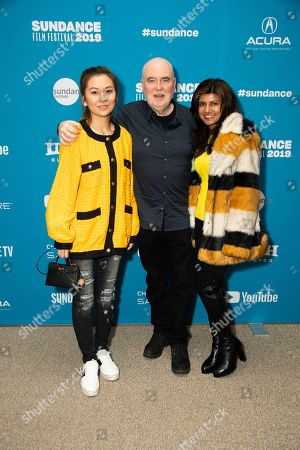 """Melissa Zuo, Ged Doherty, Trisha Chetty. From left, Melissa Zuo, Ged Doherty and Trisha Chetty pose at the premiere of """"Official Secrets"""" during the 2019 Sundance Film Festival, in Park City, Utah"""