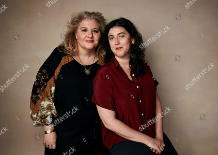 """Marie Therese Guirgis, Alison Klayman. Producer Marie Therese Guirgis, left, and director Alison Klayman pose for a portrait to promote the film """"The Brink"""" at the Salesforce Music Lodge during the Sundance Film Festival, in Park City, Utah"""