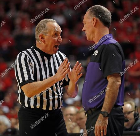 TCU coach Jamie Dixon argues a call with referee Joe DeRosa during the second half of an NCAA college basketball game against Texas Tech, in Lubbock, Texas