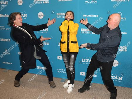 Gavin Hood (L), Chinese producer Melissa Shiyu Zuo (C), and British film and music producer Ged Doherty (R) arrive for the premiere of the film 'Official Secrets' at the 2019 Sundance Film Festival in Park City, Utah, USA, 28 January 2019. The festival runs from 24 January to 02 February 2019.