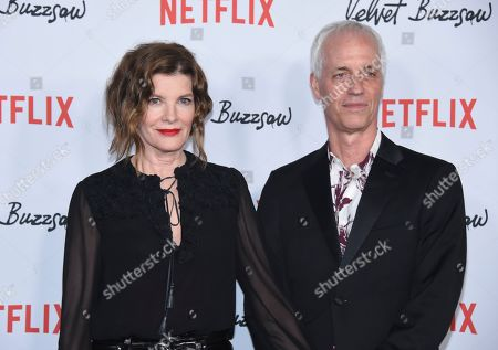 "Rene Russo, Dan Gilroy. Cast member Rene Russo, left, and director Dan Gilroy attend the premiere of ""Velvet Buzzsaw"" at The Egyptian Theatre, in Los Angeles"