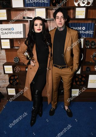 "Saraya-Jade Bevis, Ronnie Radke. Actress Saraya-Jade Bevis, left, and musician Ronnie Radke seen at the ""Fighting With My Family"" presented by MGM party hosted by Chase Sapphire at Sundance Film Festival 2019 on in Park City, Utah"
