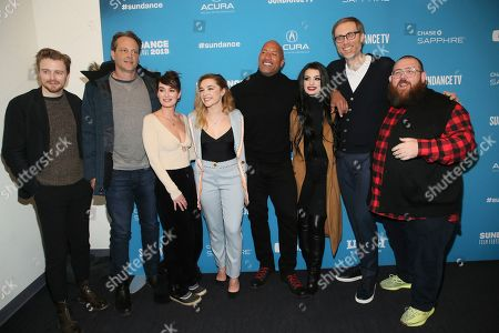 "Jack Lowden, Lena Headey, Florence Pugh, Dwayne Johnson, Paige, Stephen Merchant, Nick Frost. Cast members from left to right, Jack Lowden, Vince Vaughn, Lena Headey, Florence Pugh, Dwayne Johnson, WWE's Paige, and director Stephen Merchant and Nick Frost pose at the premiere of the film ""Fighting With My Family"" during the 2019 Sundance Film Festival, in Park City, Utah"