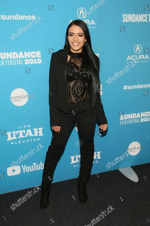 "Stock Image of WWE wrestler Thea Trinidad poses at the premiere of the film ""Fighting With My Family"" during the 2019 Sundance Film Festival, in Park City, Utah"