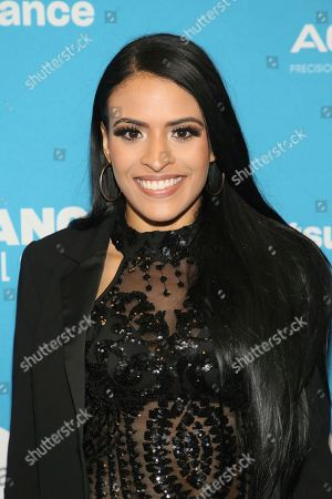 "WWE wrestler Thea Trinidad poses at the premiere of the film ""Fighting With My Family"" during the 2019 Sundance Film Festival, in Park City, Utah"