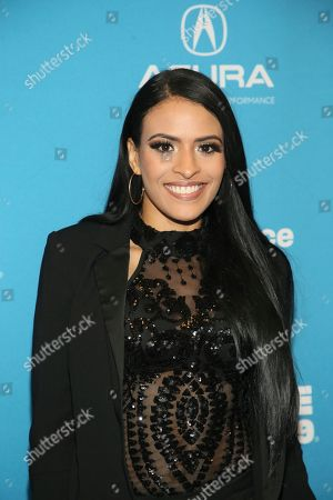 "Stock Picture of WWE wrestler Thea Trinidad poses at the premiere of the film ""Fighting With My Family"" during the 2019 Sundance Film Festival, in Park City, Utah"