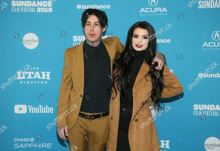 "Paige, Ronnie Radke. WWE's Paige, right, and Ronnie Radke pose at the premiere of the film ""Fighting With My Family"" during the 2019 Sundance Film Festival, in Park City, Utah"