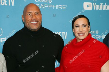 "Dwayne Johnson, Dany Garcia. Producer and cast member Dwayne Johnson, left, and producer Dany Garcia pose at the premiere of the film ""Fighting With My Family"" during the 2019 Sundance Film Festival, in Park City, Utah"