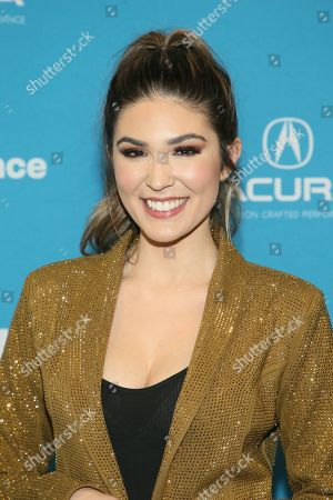"""WWE now personality Cathy Kelley poses at the premiere of the film """"Fighting With My Family"""" during the 2019 Sundance Film Festival, in Park City, Utah"""