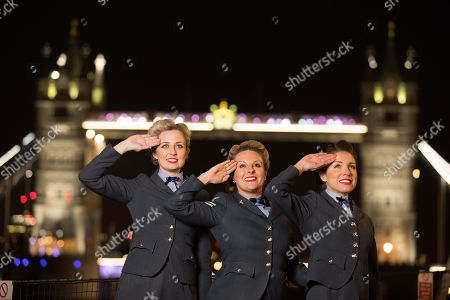 Katie Ashby and the D-Day Darlings at the launch of DDay 75 a programme of events to mark the 75th anniversary of the D-Day landings organized by Normandy Tourism and the Imperial War Museum on the HMS Belfast, London.