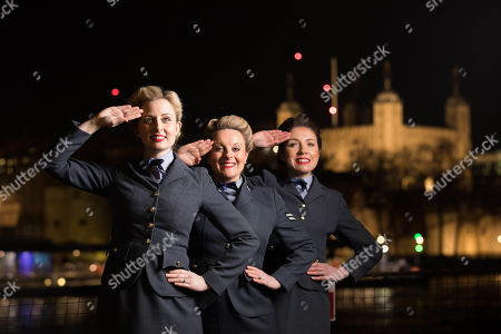 Stock Image of Katie Ashby and the D-Day Darlings at the launch of DDay 75 a programme of events to mark the 75th anniversary of the D-Day landings organized by Normandy Tourism and the Imperial War Museum on the HMS Belfast, London.