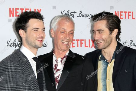 Tom Sturridge, US director Dan Gilroy and US actor/cast member Jake Gyllenhaal arrive for the Netflix premiere of their movie 'Velvet Buzzsaw' at the Egyptian Theatre in Hollywood, Los Angeles, California, USA, 28 January 2019.