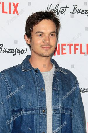 Tyler Blackburn arrives for the Netflix premiere of 'Velvet Buzzsaw' at the Egyptian Theatre in Hollywood, Los Angeles, California, USA, 28 January 2019.