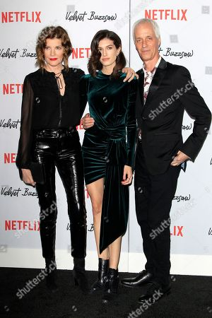 Rene Russo, her daughter Rose Gilroy and husband, US director Dan Gilroy arrive for the Netflix premiere of 'Velvet Buzzsaw' at the Egyptian Theatre in Hollywood, Los Angeles, California, USA, 28 January 2019.