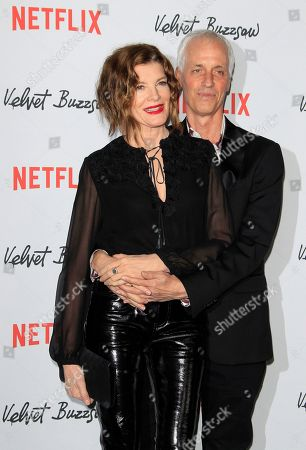 Rene Russo (L) and husband, US director Dan Gilroy arrive for the Netflix premiere of 'Velvet Buzzsaw' at the Egyptian Theatre in Hollywood, Los Angeles, California, USA, 28 January 2019.
