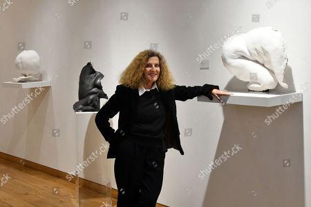 Nicole Farhi with (L-R) Venus on Seashell, £9,600, Aphrodite, £14,500, Ceres, £9,600