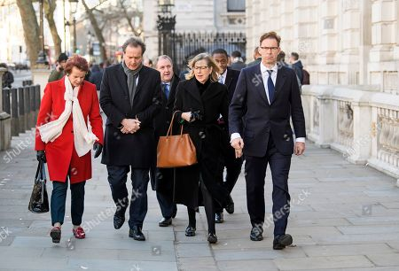 Stock Photo of Conservative MPS, including Anne Milton and Tobias Ellwood arrive at the Cabinet Offices on Whitehall. MPs on Tuesday will vote on a series of amendments to the PM's plans that could shape the future direction of Brexit.
