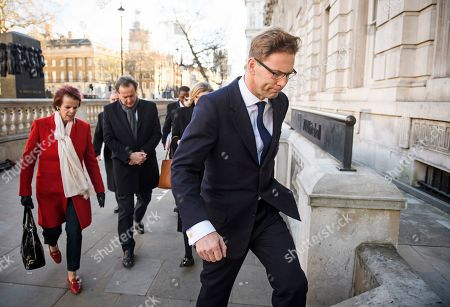 Stock Image of Conservative MPS, including Anne Milton and Tobias Ellwood arrive at the Cabinet Offices on Whitehall. MPs on Tuesday will vote on a series of amendments to the PM's plans that could shape the future direction of Brexit.