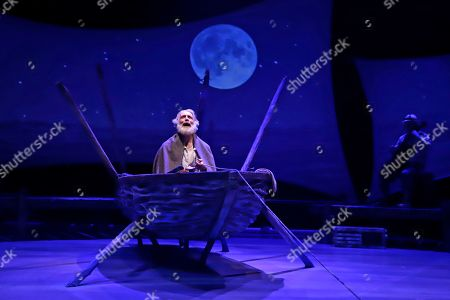 """Stock Photo of Actor Anthony Crivello plays the role of Santiago in a stage adaptation of Ernest Hemingway's """"The Old Man and the Sea"""" during a dress rehearsal at the Pittsburgh Playhouse in Pittsburgh. The stage version was written by journalist and playwright A.E. Hotchner, the writer's confidant and fishing companion in Cuba during the period in which the novella was written, and his son Tim Hotchner"""