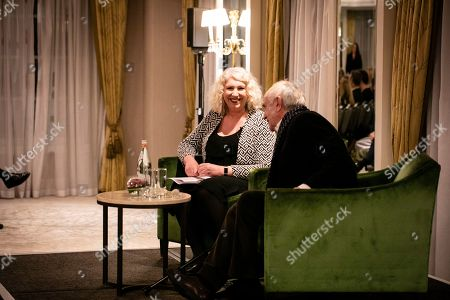 Stock Image of Jonathan Pryce in conversation with Anne Morrison
