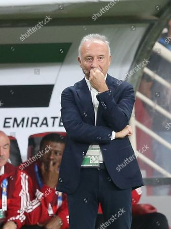 Alberto Zaccheroni head coach of UAE reacts during the 2019 AFC Asian Cup semifinal round match between Qatar and UAE in Abu Dhabi, United Arab Emirates, 29 January 2019.
