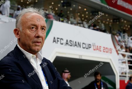 Alberto Zaccheroni head coach of UAE staands during the 2019 AFC Asian Cup semifinal round match between Qatar and UAE in Abu Dhabi, United Arab Emirates, 29 January 2019.