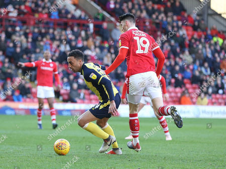 James Perch on the ball for Scunthorpe at Barnsley