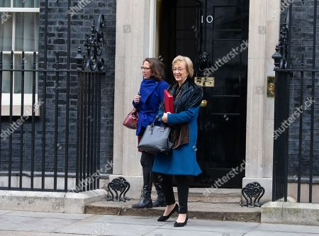 Andrea Leadsom, Leader of the House of Commons, Lord President of the Council, leaves the Cabinet meeting with Baroness Evans of Bowes Park  Leader of the House of Lords, Lord Privy Seal, on a day when parliament will vote on several amendments to the Brexit plan set out by the PM.