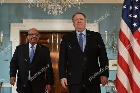Secretary of State Mike Pompeo, right, arrives with Algerian Foreign Minister Abdelkader Messahel, at the Department of State in Washington
