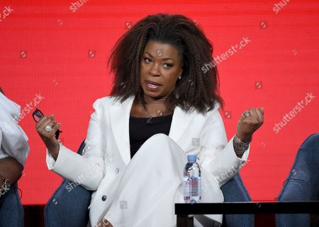 Lorraine Toussaint speaks in the Women of Drama panel during the NBCUniversal TCA Winter Press Tour, in Pasadena, Calif