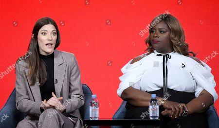 Jennifer Carpenter, Retta. Jennifer Carpenter, left, speaks as Retta looks on in the Women of Drama panel during the NBCUniversal TCA Winter Press Tour, in Pasadena, Calif