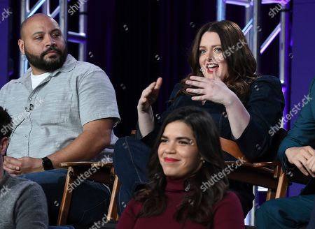 "America Ferrera, Colton Dunn, Lauren Ash. Colton Dunn, left, Lauren Ash, right, and America Ferrera participate in NBC's ""Superstore"" panel during the NBCUniversal TCA Winter Press Tour, in Pasadena, Calif"