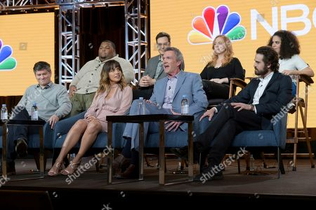 """Stock Picture of Michael Schur, Natalie Morales, Neil flynn, Josh Malmuth, Leonard Ouzts, Nelson Franklin, Jessica Chaffin, Kimia Behpoornia. Executive producer Michael Schur, from front row left, Natalie Morales, Neil Flynn, executive producer Josh Malmuth, and from back row left, Leonard Ouzts, Nelson Franklin, Jessica Chaffin and Kimia Behpoornia participate in NBC's """"Abby's"""" panel during the NBCUniversal TCA Winter Press Tour, in Pasadena, Calif"""