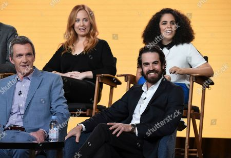 """Stock Photo of Neil Flynn, Josh MalmuthJessica Chaffin, Kimia Behpoornia. Neil Flynn, from front row left, executive producer Josh Malmuth, and from back row left, Jessica Chaffin and Kimia Behpoornia participate in NBC's """"Abby's"""" panel during the NBCUniversal TCA Winter Press Tour, in Pasadena, Calif"""