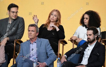 """Stock Image of Nelson Franklin, Neil Flynn, Josh MalmuthJessica Chaffin, Kimia Behpoornia. Neil Flynn, from front row left, executive producer Josh Malmuth, and from back row left, Nelson Franklin, Jessica Chaffin and Kimia Behpoornia participate in NBC's """"Abby's"""" panel during the NBCUniversal TCA Winter Press Tour, in Pasadena, Calif"""