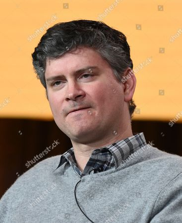 """Michael Schur speaks in NBC's """"Abby's"""" panel during the NBCUniversal TCA Winter Press Tour, in Pasadena, Calif"""