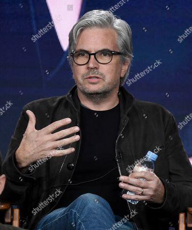 "Dan Cutforth speaks in Bravo's ""Project Runway"" panel during the NBCUniversal TCA Winter Press Tour, in Pasadena, Calif"